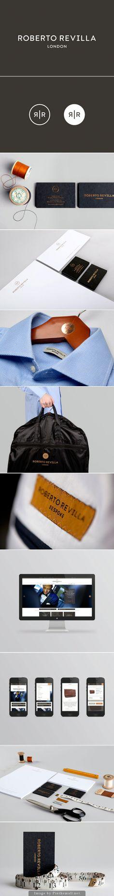 Identity design for bespoke London-based tailor Roberto Revilla by Friends