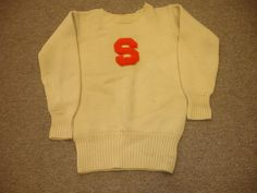 Preppy Vintage White 1940s/50s Syracuse University Orange Block S Crewneck Varsity Letterman Sweater