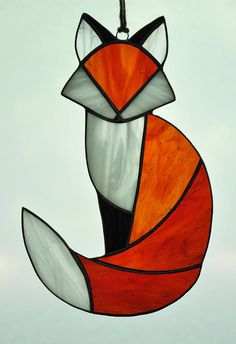 Items similar to Red Fox Suncatcher on Etsy Stained Glass Quilt, Stained Glass Ornaments, Stained Glass Suncatchers, Stained Glass Designs, Stained Glass Panels, Stained Glass Projects, Stained Glass Patterns Free, Stained Glass Studio, Clear Ornaments