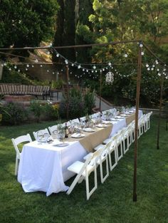 Ideas Backyard Party Wedding Rehearsal Dinners For 2019 Backyard Party Lighting, Backyard Wedding Decorations, Dinner Party Decorations, Engagement Party Decorations, Wedding Backyard, Engagement Dinner Ideas, Backyard Barbeque Party, Rustic Party Decorations, Engagement Photos