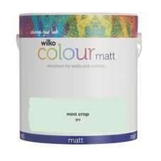 2.5L of Wilko colour matt emulsion paint in Mint Crisp.Wilko colour is a high quality emulsion paint formulated to give  outstanding performance for walls  and ceilings. A matt  finish dries to  give an even tone, which helps disguise minor lumps  and bumps on your walls.  Hard-wearing  with a wipe clean surface;  Wilko colour will keep your home looking  gorgeous.The  contents of  this can will cover 30m² which,  after 2 coats, is about the same width as 3 small  sofas.*Approximate coverage…