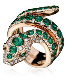Divine Serpent Hypnotic Ring in 18k rose gold with diamonds and emeralds.   tabbah   b908d4dc6f