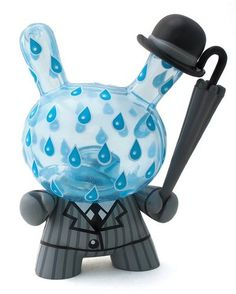 Rainy London figure by Triclops, produced by Kidrobot. Front view.