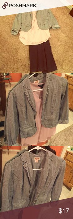 Navy and white pinstripe blazer Worn once navy and white pinstripe blazer Mossimo Supply Co Jackets & Coats Blazers