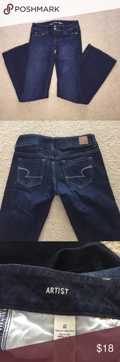 American Eagle Artist Stretch Jeans Dark wash stretch jeans Artist style like new, double button closure American Eagle Outfitters Jeans Boot Cut