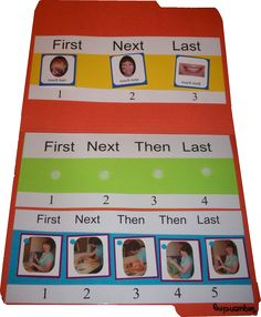 3-5 Step Sequencing Board: File folder game with three sequencing strips for 3-, 4-, and 5- step sequences.  Repinned by SOS Inc. Resources.  Follow all our boards at http://Pinterest.com/sostherapy for therapy resources.