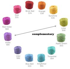 Complementary color schemes. Color Theory 101: selecting yarns that go together. From Freshstitches.com.