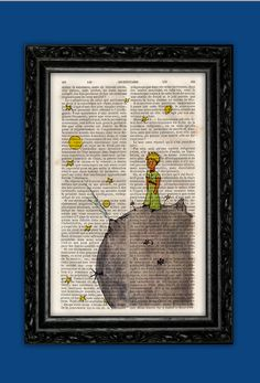 The Little Prince and the Grey Planet Art Print - Saint-Exupéry Original Poster Dorm Room Print Gift Wall Decor Poster Dictionary Print Art