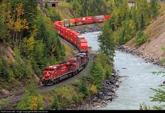 "A westbound Canadian Pacific stack train swings through a ""s"" curve along the Kicking Horse River approaching Glenogle, British Columbia, on September 22, 2013. via  Y Teng"