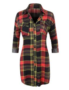 LE3NO Womens Casual Plaid Button Down Shirt with Roll Up Sleeves from LE3NO. Saved to Things I want as gifts.