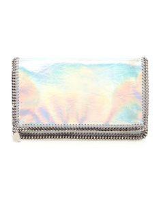 Stella McCartney'Falabella' Holographic Faux Leather Clutch Bag