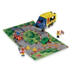 This Fisher-Price Little People Race Car playset will have your child using his imagination to extend racing and crashing beyond the track. Fisher Price, Little People, Up Hairstyles, Your Child, Race Cars, Racing, Play, Toys, Children