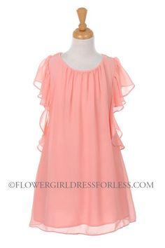 09abf16743 Girls Dress Style 7001- Chiffon Dress with Removable Sash  45.99