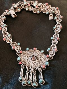 $500.00  OBO Sterling Silver Old Vintage Mexico Hand Made Turquoise Coral Amerhyst Ornate Dangle Medallion Pendant Necklace Taxco Tossed and Tarnished