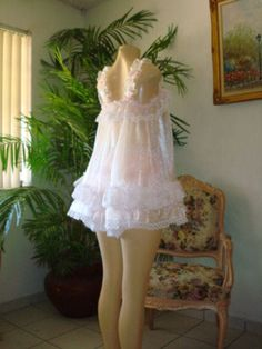 Baby Doll Sissy Baby Organza & Lots of Lace image 2 Pretty Lingerie, Vintage Lingerie, Beautiful Lingerie, Baby Doll Nighties, Pink Dress, Flower Girl Dresses, Vintage Outfits, Vintage Fashion, Vintage Style