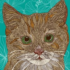 I'm amazed at all the intricate details!  ---  MIssy (the cat) Print / 15.00 USD / (etsy valentinadesign) Original & Inspirational Art by artist Valentina Ramos
