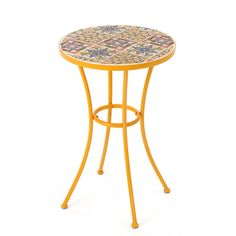 Noble House Reyna Yellow Round Metal Outdoor Side Table-301159 - The Home Depot
