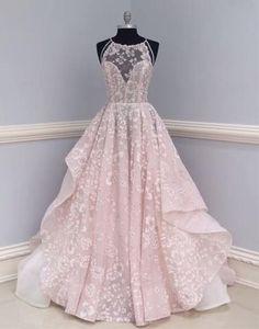 Unique lace tulle long prom dress, lace wedding dress,PD2036