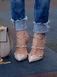 Shop Pumps/Heels Schuhe Stylish Caged Rivet Ankle Strap Heels #stilettoheelsdress