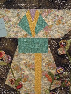 Kimonos quilt by Phyllis McCalla, quilted by Cheryl Thompson.  2014 RCQG show.  Closeup photo by Quilt Inspiration