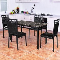 New MTN-G 5 PC Dining Set Faux Marble Table And PU Chairs Home Kitchen Breakfast Furniture