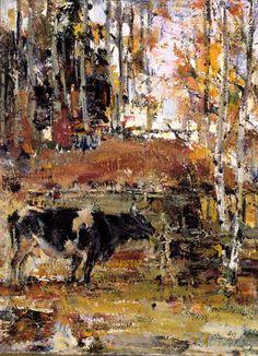 Cow and Aspens,  Nicolai Fechin