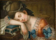 """""""Young Woman Sleeping with Her Sewing Kit"""", c.1780, unknown artist, Nordiska Museet, Stockholm, Sweden"""