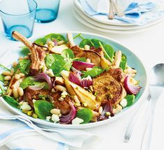 Pork with pear spinach & feta - Healthy Food Guide