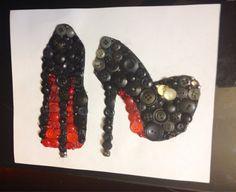 High heel button wall art by HardlyArtsy on Etsy