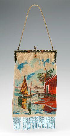 Evening purse 1920-29, probably French. Medium: glass, metal, linen, silk
