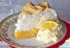 Low carb lemon meringue pie piece