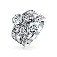 Christmas Gifts CZ Four Leaf Clover Lucky Heart Shamrock Love Stackable Rings Rhodium Plated Bling Jewelry http://www.amazon.com/dp/B00OZGWU30/ref=cm_sw_r_pi_dp_mdizwb11MF48V