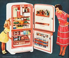 """""""Like most women growing up in the 1950s and 1960s I was fed a generous serving of sugar-coated media stereotypes of happy homemakers who were as frozen and neatly packaged as the processed foods they served their cold war families.""""    Posted  by sally edelstein"""