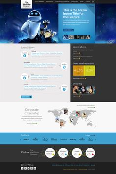 Dribbble - Disney_Landing_Homepage_1a.JPG by Grayden Poper - solid colour sidebar as part f overall grid