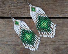 Red Earrings, Seed Bead Earrings, Fringe Earrings, Etsy Earrings, Beaded Earrings, Fashion Earrings, Earrings Handmade, Seed Beads, Brick Stitch Earrings