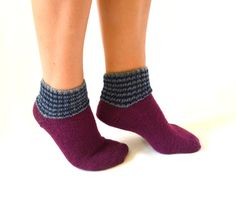 hand knit burgundy socks slippers girl acessories women by bstyle, $20.00