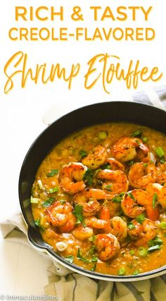 Delicious homemade shrimp etouffee with an authentic, rich creole flavor. Best served with hot rice! Delicious homemade shrimp etouffee with an authentic, rich creole flavor. Best served with hot rice! Creole Cooking, Cajun Cooking, Cooking Recipes, Donut Recipes, Cajun Food, Cajun Shrimp Recipes, Easy Chicken Recipes, Shrimp Ettouffe Recipe, Recipes With Seafood Stock