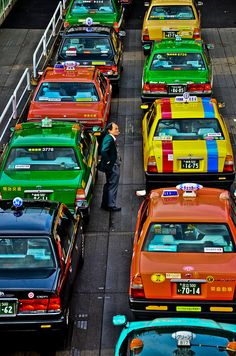 Fargerike i ************* Decide what colour taxi you want to take. These taxis are in Tokyo, Japan Go To Japan, Grand Tour, Japanese Culture, Historical Sites, Japan Travel, Land Scape, Places To See, Around The Worlds, Journey