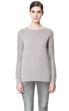 SWEATER WITH OPEN-WORK SLEEVES from Zara
