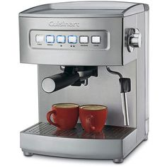 Brew your own delicious lattes and cappuccinos at home with this programmable espresso maker from Cuisinart. This appliance features pre-programmed cup sizes and a 15-bar pump.