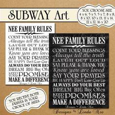 CUSTOM Personalized Printable FAMILY Rules -Subway Art Wall Printable- one size - 4x6, 5x5, 5x7, 8x8, 8x10, 10x13, 11x14, 12x12, 16x20 via Etsy