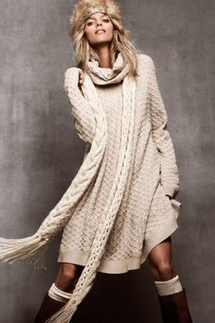 H & M Oversized Beige Cowl Neck Cable Knit Sweater Dress Tunic
