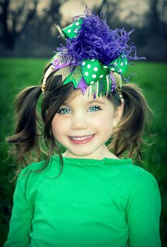 Over the Top Mardi Gras Boutique Hair Bow by IzzyDianesBowtique, $17.99