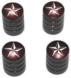 """Amazon.com : (4 Count) Cool and Custom """"Diamond Etching Nautical Star Top with Easy Grip Texture"""" Tire Wheel Rim Air Valve Stem Dust Cap Seal Made of Genuine Anodized Aluminum Metal {Storm Kia Black and White Colors - Hard Metal Internal Threads for Easy Application - Rust Proof - Fits For Most Cars, Trucks, SUV, RV, ATV, UTV, Motorcycle, Bicycles} : Sports & Outdoors"""