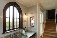beautiful kitchen in a Victorian house keep to it's Gothic roots while embracing modern amenities #Houzz
