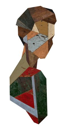 Miss Gloria, 2015. Recycled wood sculpture, 112 x 51,5 cm. Photo © Strook.