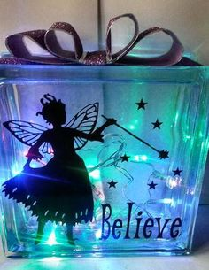 Fairy Believe No2 for vinyl glass blocks luminaires on Craftsuprint designed by Tina Fallon - Fairy Believe No2- for vinyl, glass blocks luminaires - Now available for download!