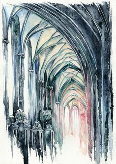 -The Northern Nave- by RiEile. on deviantART You are in the right place about Architect Watercolor Sketch, Watercolor Paintings, Watercolors, Gothic Architecture, Architecture Panel, Drawing Architecture, Architecture Portfolio, Architecture Design, A Level Art Sketchbook