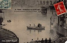 Paris, crue de la Seine 1910: la gare Saint Lazare