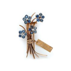 A RETRO SAPPHIRE, DIAMOND AND GOLD BROOCH, BY VAN CLEEF & ARPELS - circa 1940